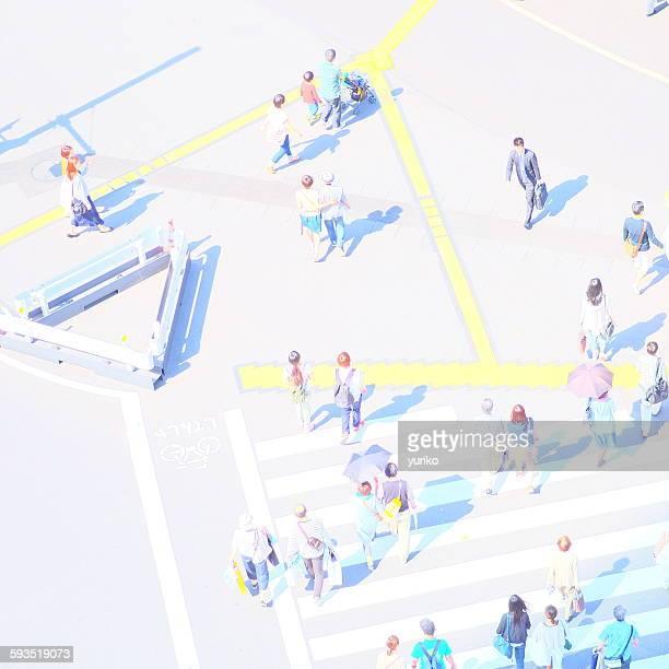 People walking on lines