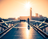 'People Walking On Millenium Bridge, London'