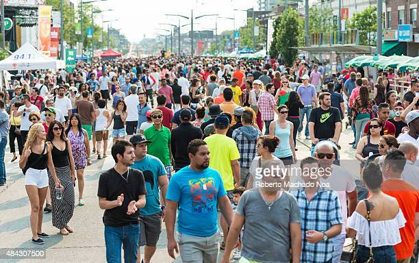 WEST TORONTO ONTARIO CANADA People walking on street during the Salsa on St Clair Avenue West Toronto It is a two day street festival celebrating the...