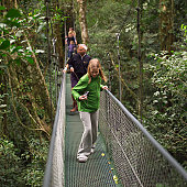 People walking on suspension bridge in Costa Rica