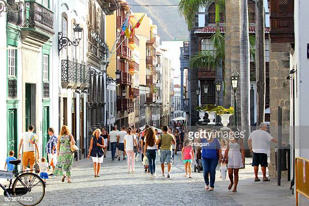 People walking on the old town