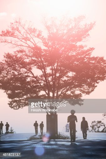 People walking on the pavement : Stock Photo
