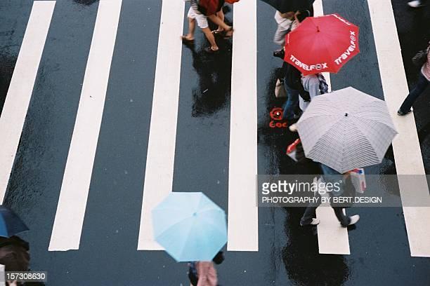 People walking on zebra crossing in the rain