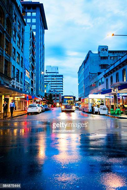 People walking the streets of downtown Auckland, New Zealand