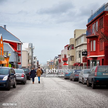 People Walking the Streets of Reykjavik, Iceland
