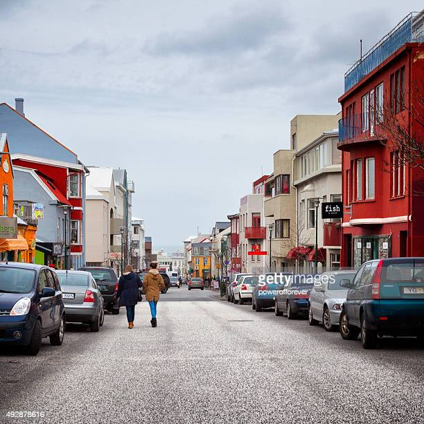 People Walking the Streets of Reykjavik, Iceland