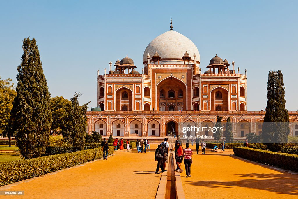 People walking towards Humayuns Tomb : Stock Photo