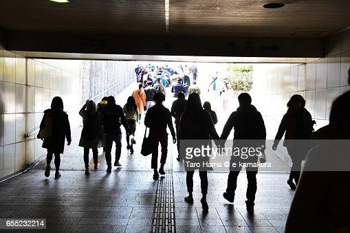 People walking under the bridge : ストックフォト