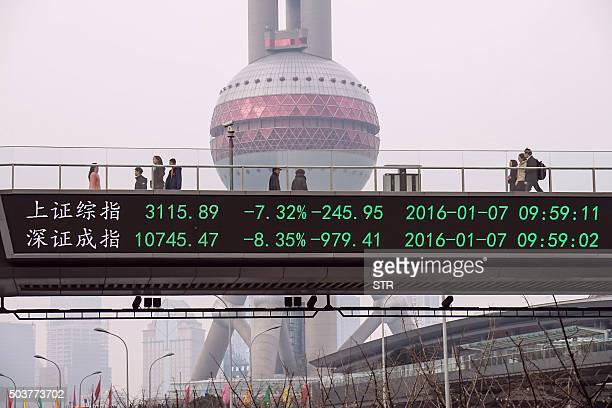 People walks along a pedestrian bridge with a screen showing stock market movements in Shanghai on January 7 2016 China's market regulator on January...