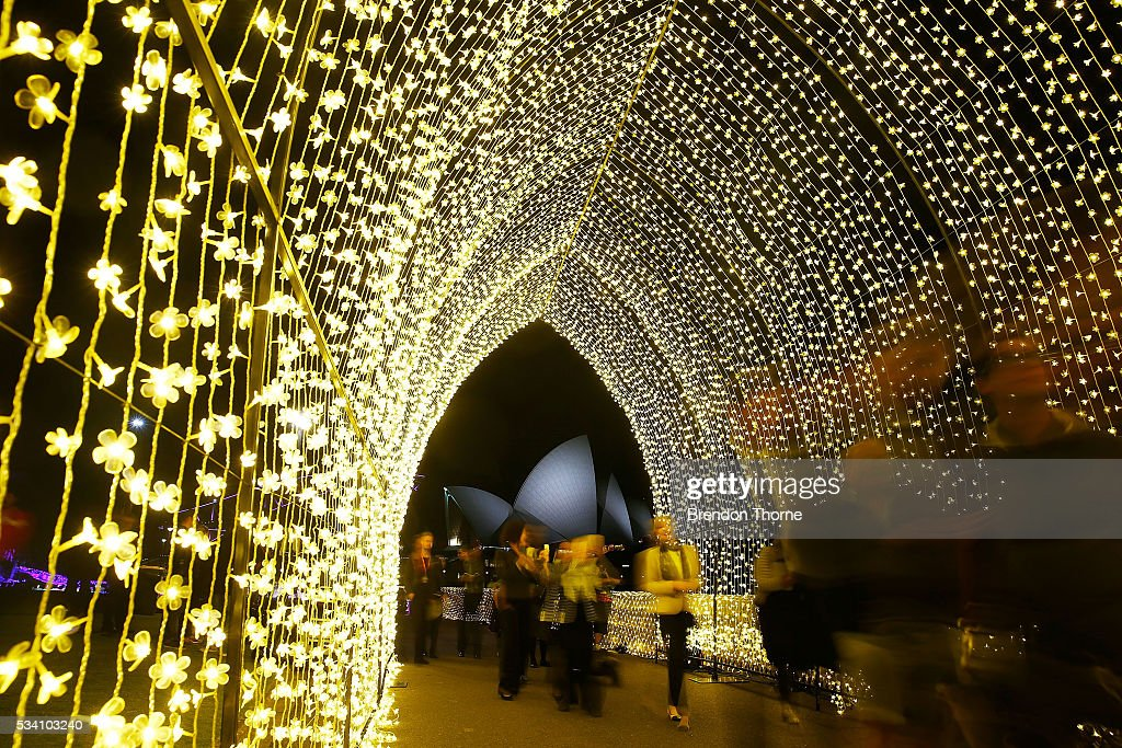 People walks inside the 'Cathedral of Light' at The Royal Botanic Gardens on May 25, 2016 in Sydney, Australia. Held annually, Vivid Sydney is the world's largest festival of light, music and ideas.