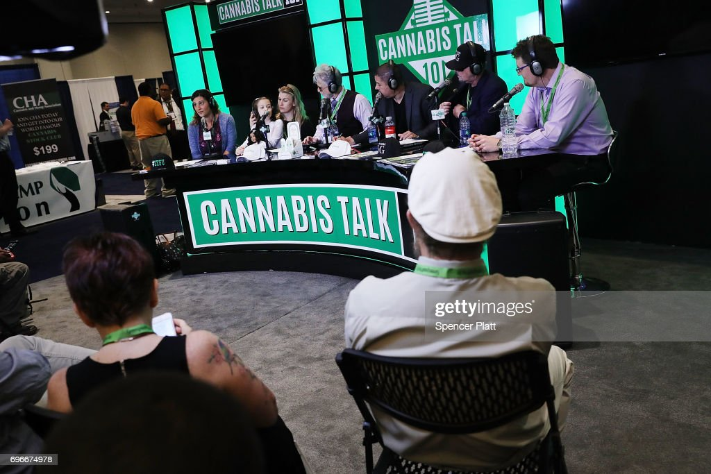 People watch a live radio broadcast of Cannibas Talk at the Cannabis World Congress Conference on June 16, 2017 in New York City. Billed as 'the leading trade show and conference for the legalized cannabis, medical marijuana, and industrial hemp industries,' the 4th annual conference brings together dozens of both small and large businesses involved in the growing hemp and marijuana market.