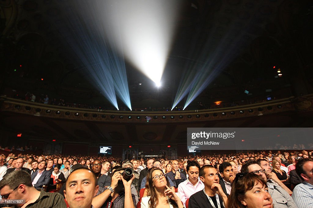 People watch a presentation at the Ubisoft press conference on the eve of the Electronic Entertainment Expo (E3) on June 4, 2012 in Los Angeles, California. E3 is the most important yearly trade show the $78.5 billion videogame industry.