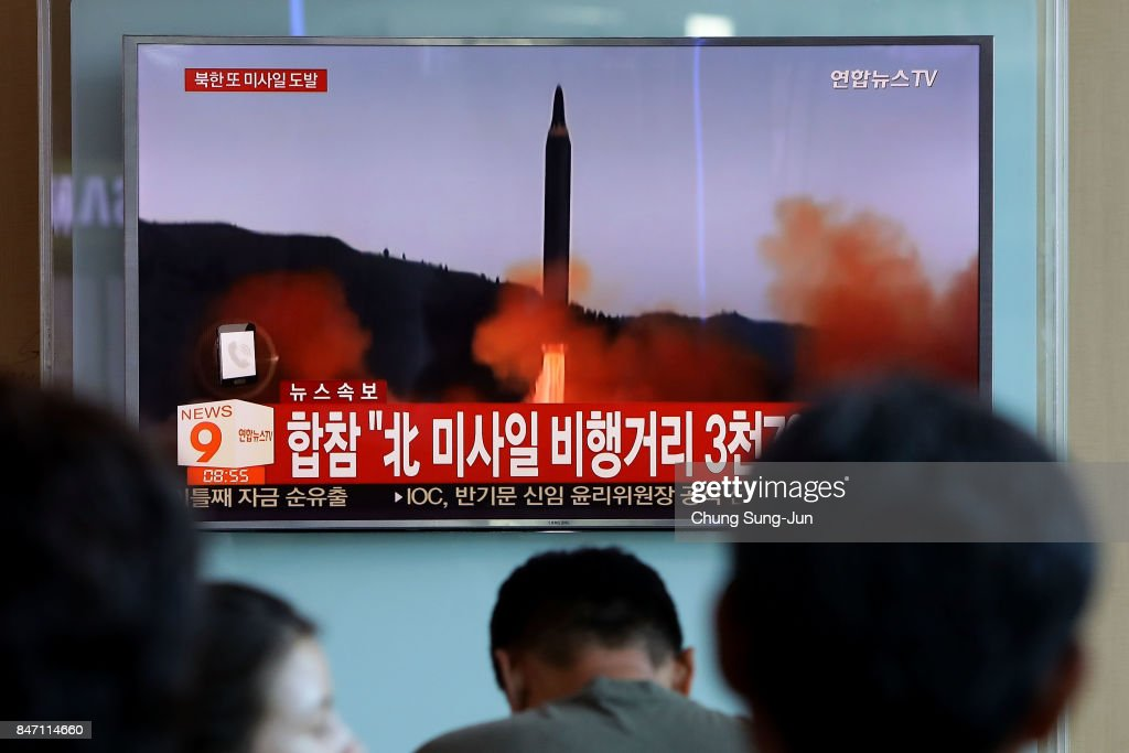 People watch a television broadcast reporting the North Korean missile launch at the Seoul Railway Station on September 15, 2017 in Seoul, South Korea. North Korea launched a ballistic missile over Japan just days after the U.N. Security Council adopted new sanctions against the regime over its sixth nuclear test on Sept. 3.