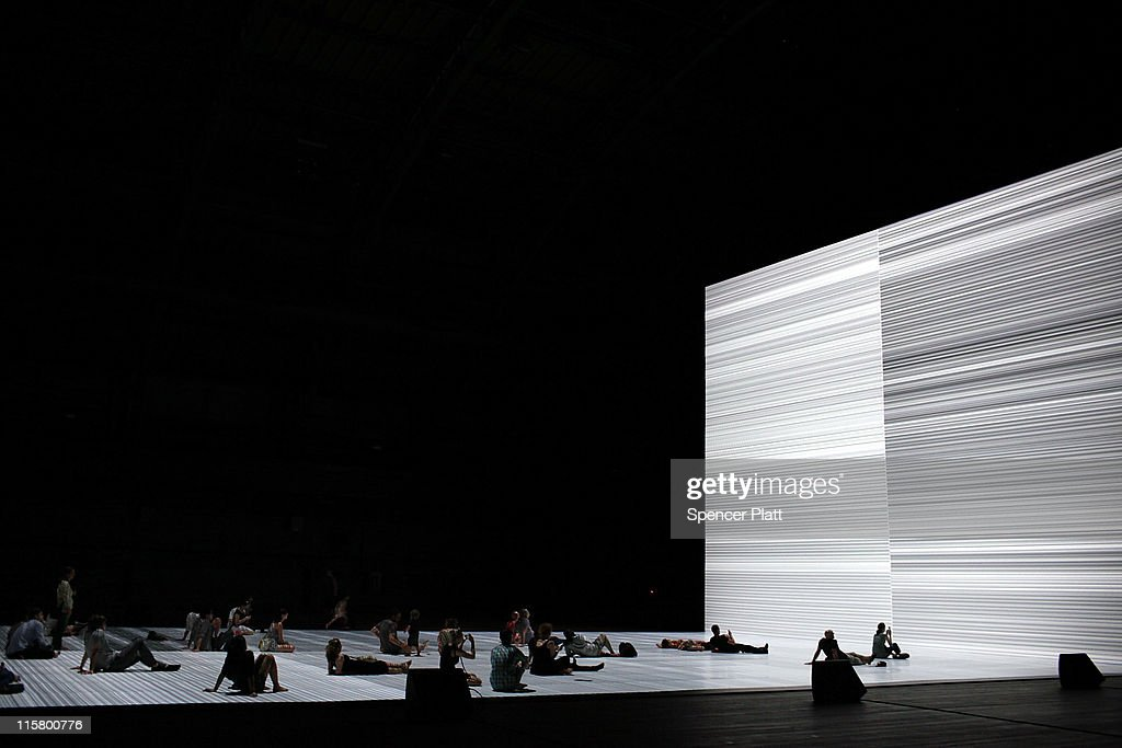 People Watch A Video Screen At The Ryoji Ikeda Exhibition Transfinite