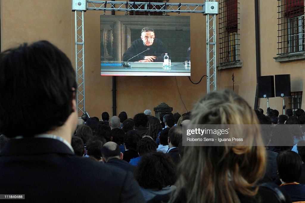 People watch as Fiat CEO Sergio Marchionne holds leadership masterclass at Villaguastavillani on April 7, 2011 in Bologna, Italy. Under plans laid out by the company's Chief Executive Sergio Marchionne, FIAT will move to increase its stake in Chrysler by 5% to 30% over the next few months with the intention of securing at least 35% by the end of 2011.