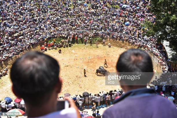 People watch as two bulls fight against each other during a bull fighting competition on July 23 2017 in Congjiang County China Bull Fighting is a...