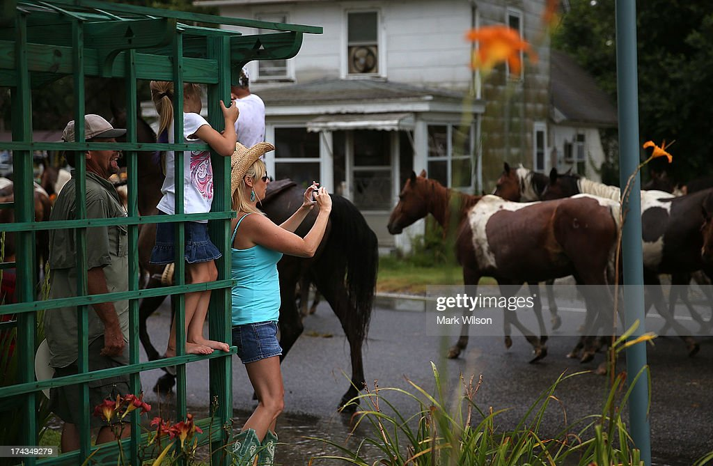 People watch as wild ponies are herded toward the fairgrounds after they swam across the Assateague Channel during their annual swim from Assateague...