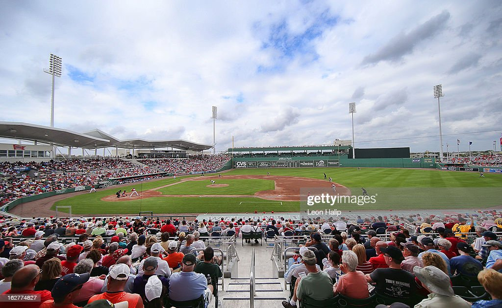 People watch during the game between the St Louis Cardinals and the Boston Red Sox at JetBlue Park on February 26 2013 in Fort Myers Florida