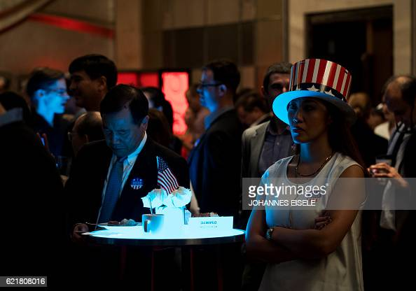 TOPSHOT People watch news on a screen to follow the results of the final day of the US presidential election at an event organised by the American...