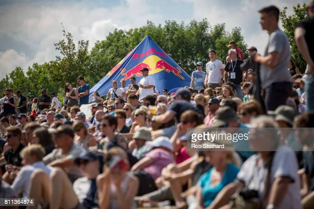 People watch the Bull Soapbox Race at Alexandra Palace on July 9 2017 in London England The event in which amateur drivers race homemade unpowered...