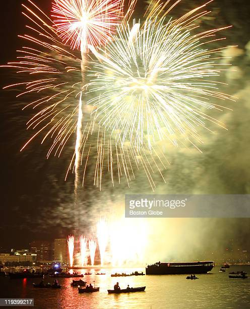 People watch the fireworks celebration on Independence Day Monday on the Esplanade