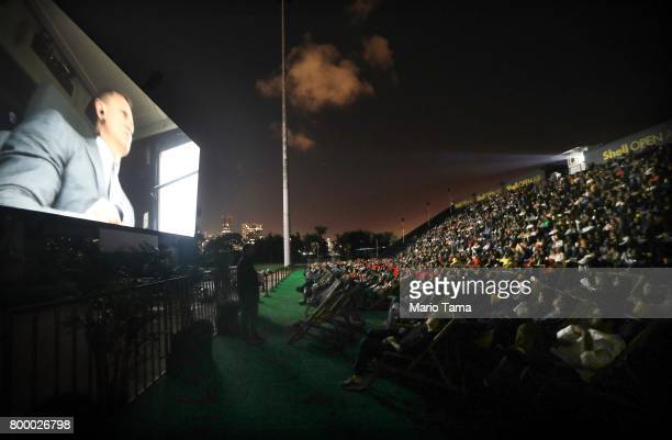 People watch the James Bond film 'Skyfall'at the Shell Open Air cinema at Gloria Marina on June 22 2017 in Rio de Janeiro Brazil The 325squaremeter...