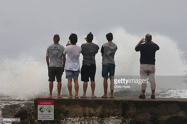 People watch waves at Snapper Rocks as Cyclone Marcia approaches the coast of Queensland on February 19 2015 in Gold Coast Australia Cyclone Marcia...