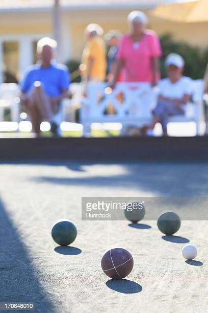 People watching a bocce game