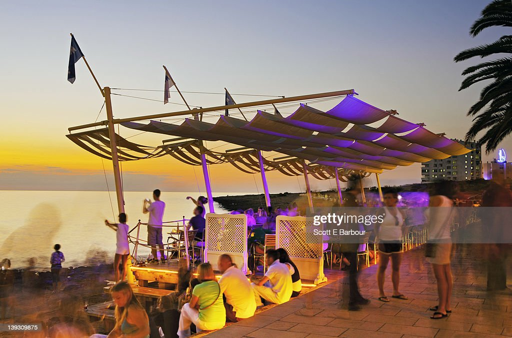 People watching sunset. Café del Mar, San Antonio : Stock Photo