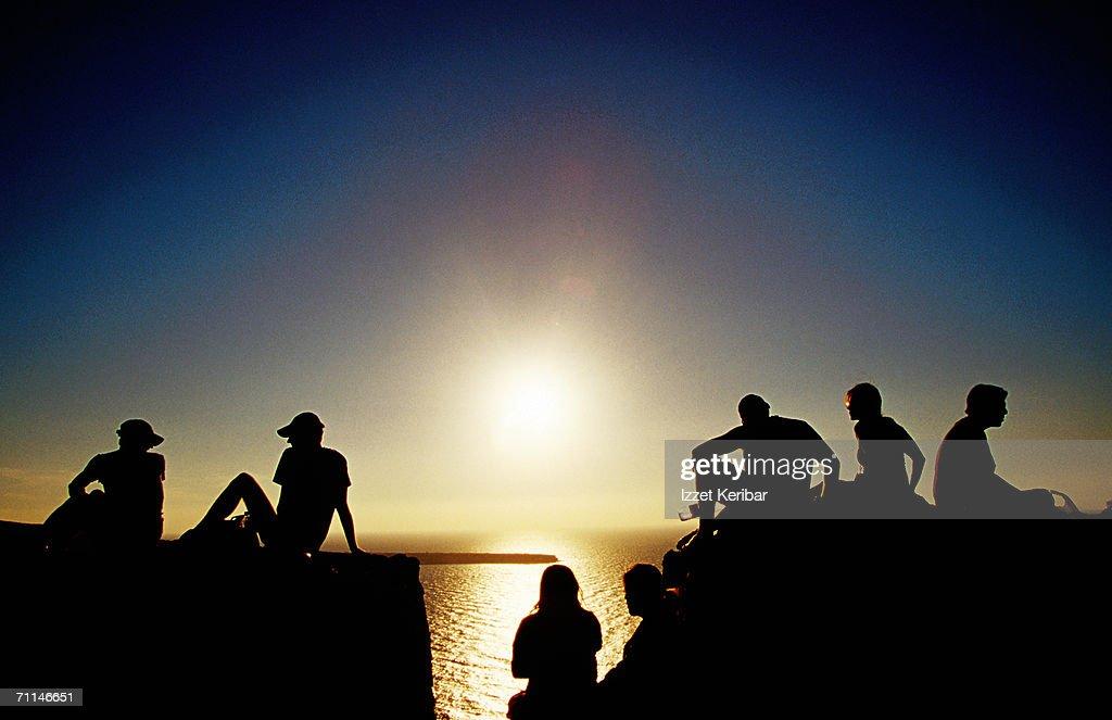 People watching sunset, Greece : Stock Photo