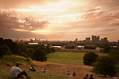 People watching sunset, Greenwich, London, England