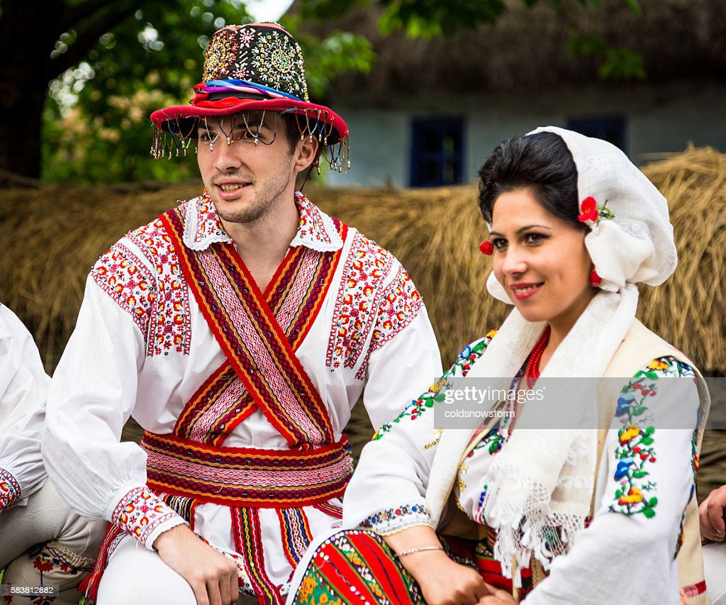 People Wearing Traditional Romanian Clothing In Bucharest ...