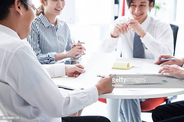 People who have a planning meeting at the stylish office