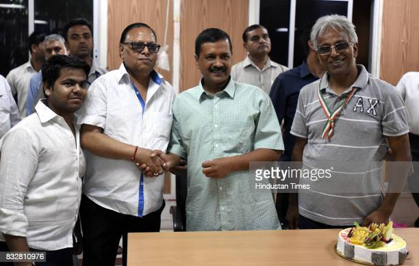 People wish Delhi Chief Minister Arvind Kejriwal on his birthday at his government residence on August 16 2017 in New Delhi India AAP Party Chief...
