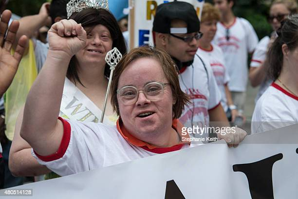 People with autism chant slogans during the first annual Disability Pride Parade on July 12 2015 in New York City The parade calls attention to the...