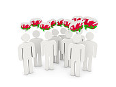 People with flag of wales isolated on white. 3D illustration