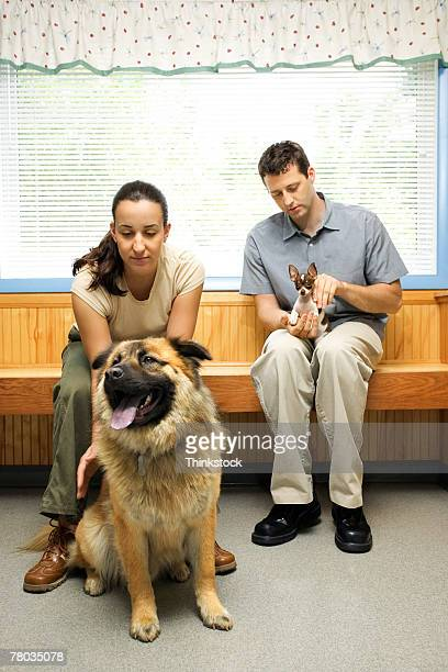 People with pet dogs in veterinary clinic waiting room