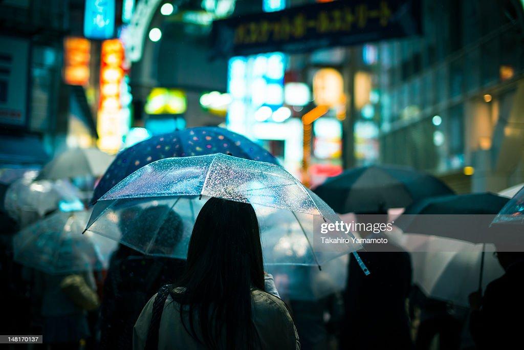 People with their Umbrella Walking in Shibuya : Stock Photo
