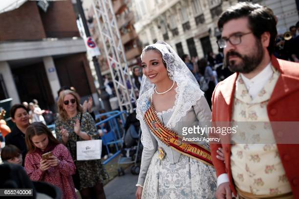 People with traditional costumes attend Las Fallas festival in Valencia Spain on March 19 2017