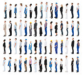 Collage Of People With Various Profession Standing In Line Against White Background