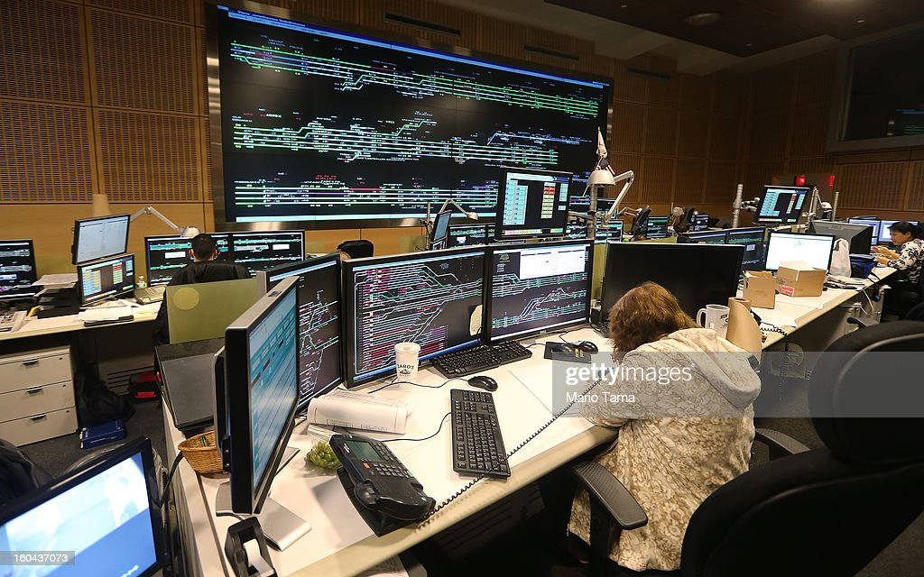People work in Metro-North Railroad's Operations Control Center at Grand Central Terminal on the day before the famed Manhattan transit hub turns 100 years old on January 31, 2013 in New York City. The terminal opened in 1913 and is the world's largest terminal covering 49 acres with 33 miles of track. Each day 700,000 people pass through the terminal where Metro-North Railroad operates 700 trains per day.