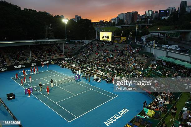 People work to dry centre court during a rain delay on day three of the 2012 ASB Classic at ASB Tennis Centre on January 4 2012 in Auckland New...