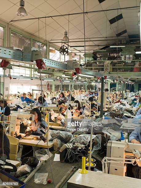 People working in a shoe factory