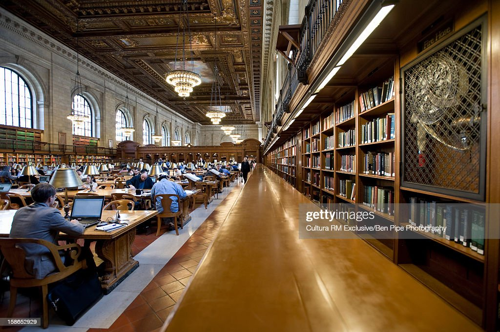 People working in library