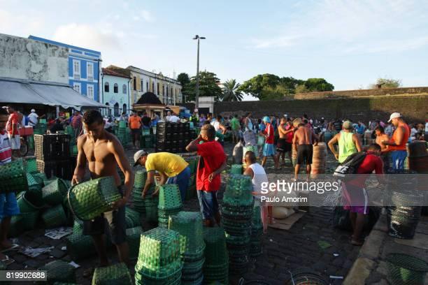 People working in the morning Acai Market in Belém,Brazil