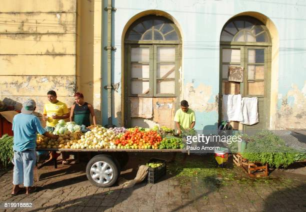People working in the sale of vegetable in Amazon,Brazil