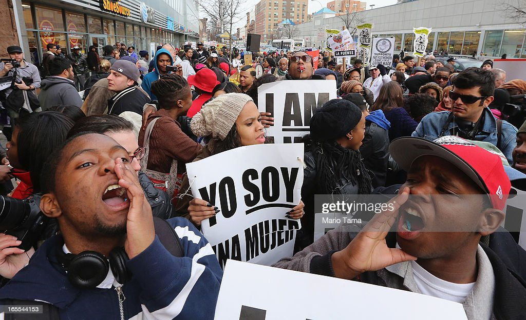 People yell during a protest for better wages for fast food workers outside a McDonald's restaurant in Harlem on April 4, 2013 in New York City. Organizers said hundreds of fast food workers were expected to walk off the job today from establishments including Wendy's, McDonald's and KFC to rally for better pay and union rights.