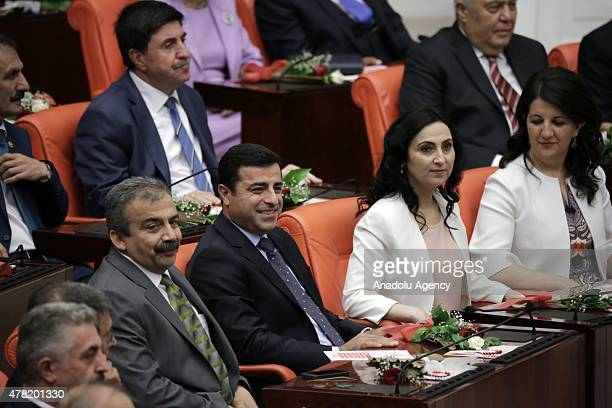 People's Democratic Party cochairs Selahattin Demirtas Figen Yuksekdag MPs of HDP Sirri Sureyya Onder and Pervin Buldan arrive for Turkish...