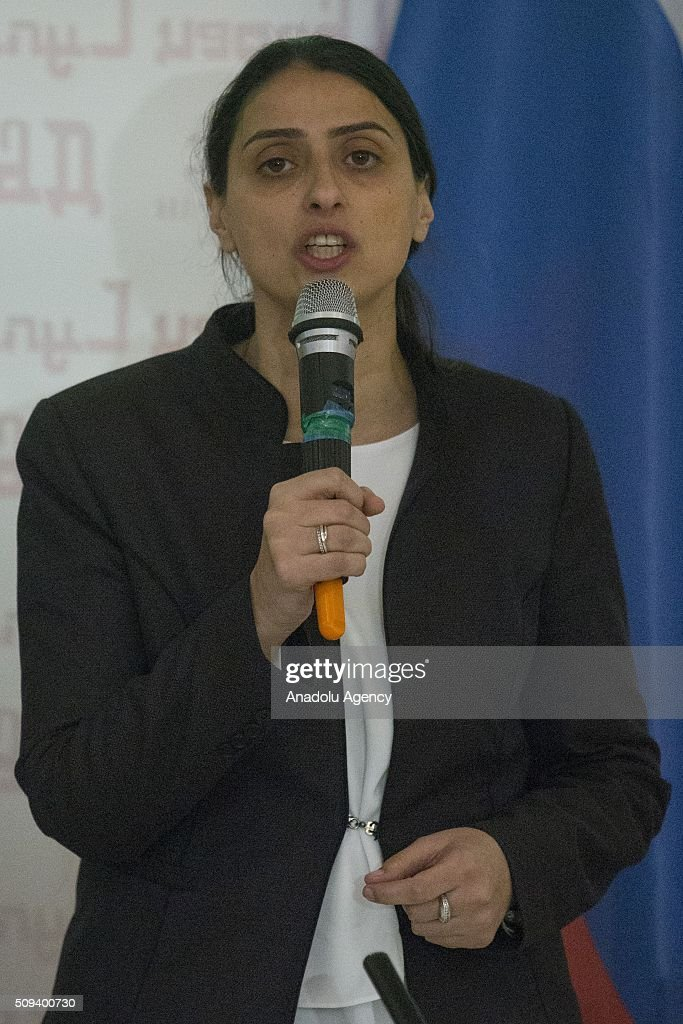 Peoples' Democratic Party (HDP) Diyarbakir MP Feleknas Uca delivers a speech during the opening ceremony of an office claiming to represent the region under the control of the PYD, the Syrian arm of the PKK terrorist organization in the Russian capital of Moscow on February 10, 2016.