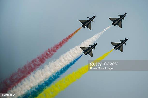 People's Liberation Army Air Force Chengdu J10 jet fighters manufactured by Chengdu Aerospace Corp a unit of Aviation Industry Corp of China flies...